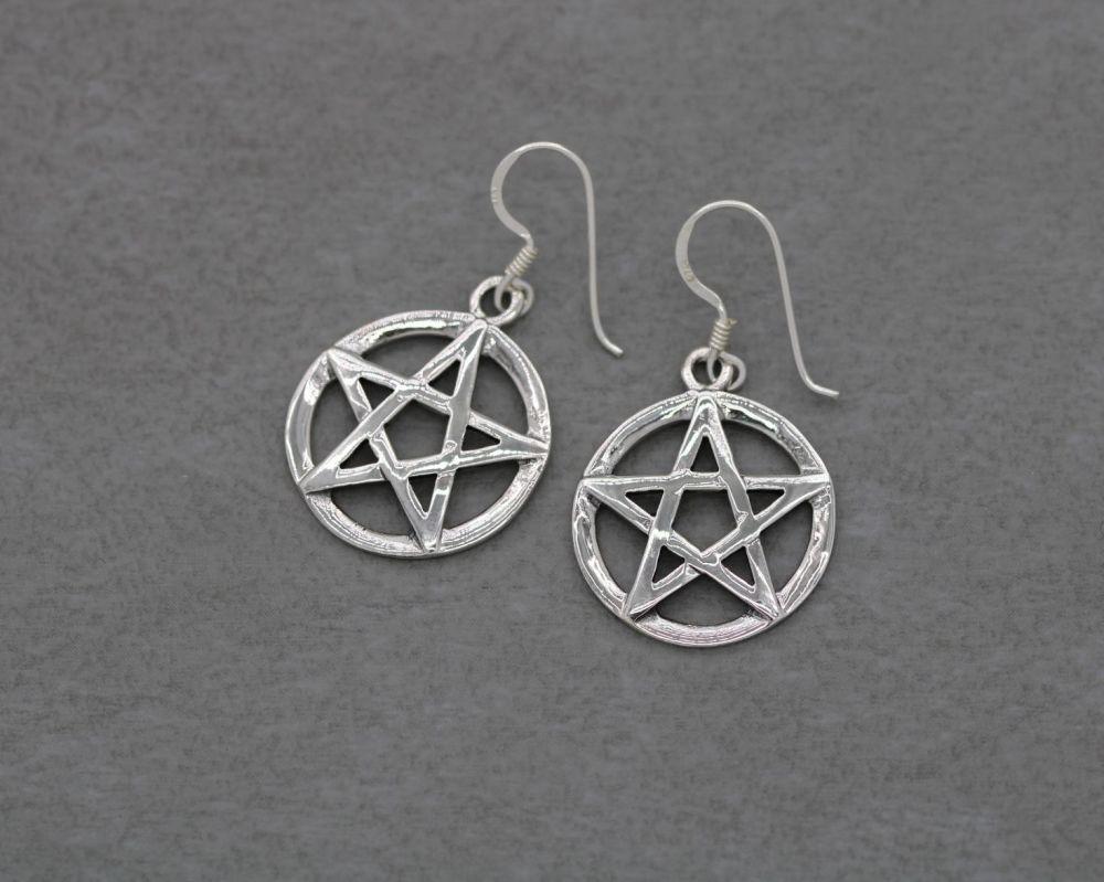 Sterling silver pentagram star earrings