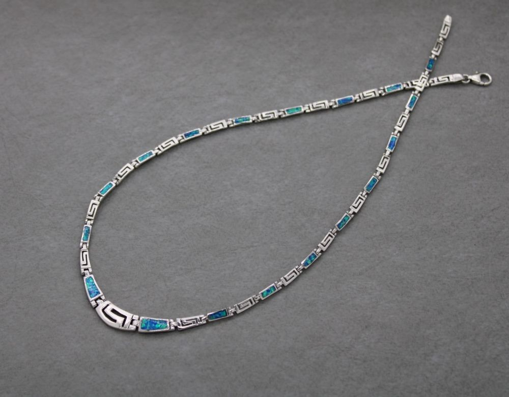 Sterling silver & imitation blue opal collar necklace with a Greek key desi