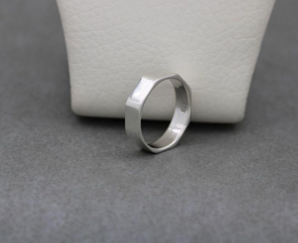 Unusual sterling silver octagonal ring
