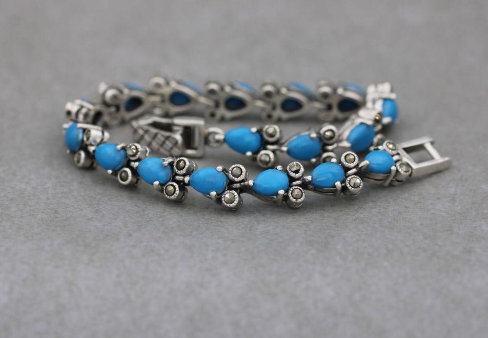 Sterling silver, blue howlite & marcasite bracelet