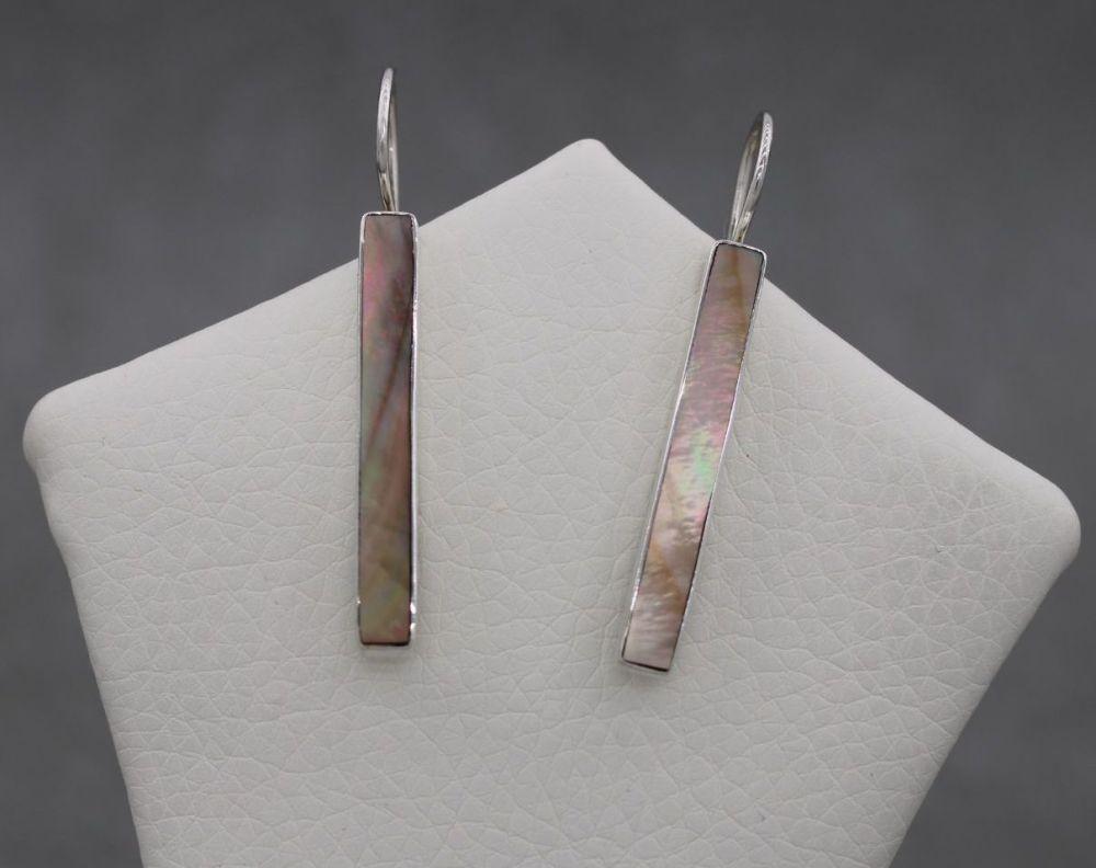 Long slim sterling silver & mother of pearl earrings