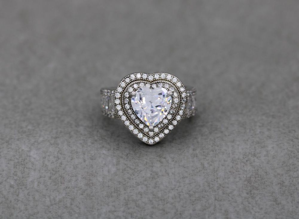 Bold sterling silver & clear stone accented heart ring