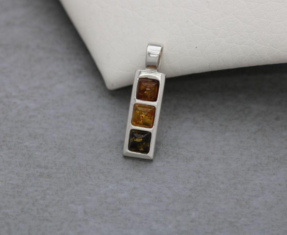 Small rectangular sterling silver & multi amber pendant