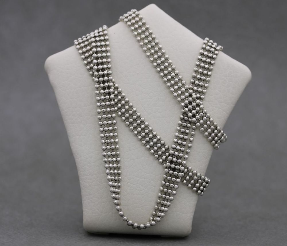 Italian sterling silver multi-row bead chain necklace