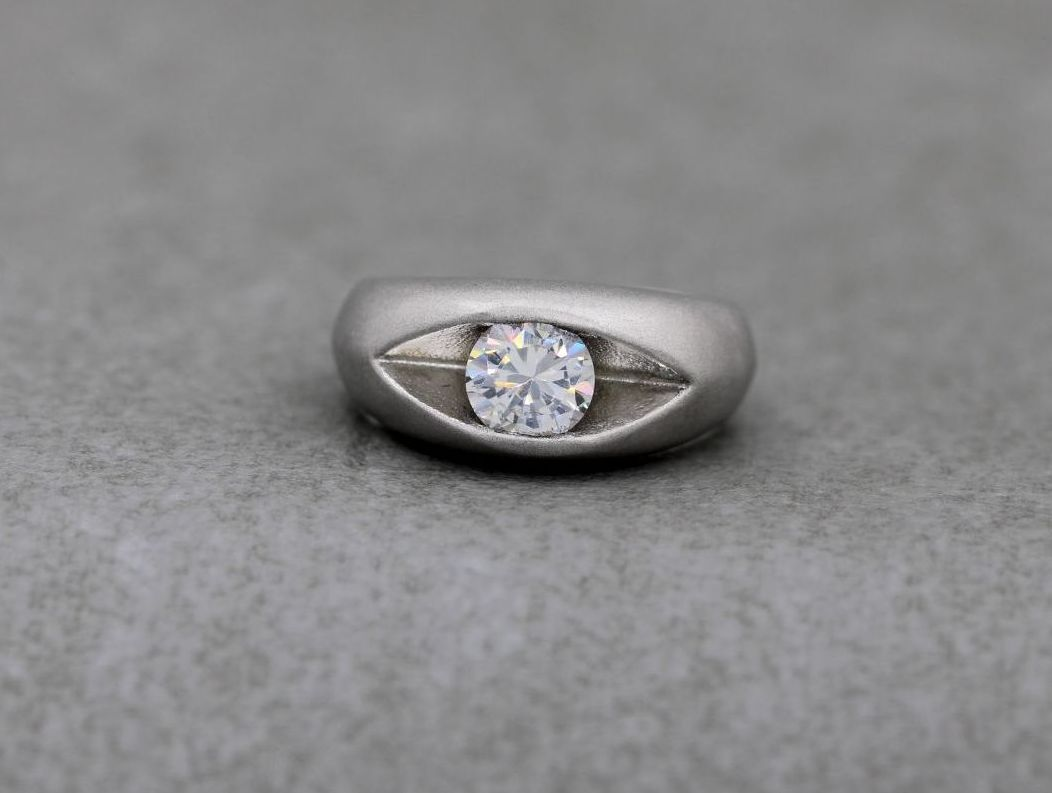 Unusual matt sterling silver & clear stone solitaire ring