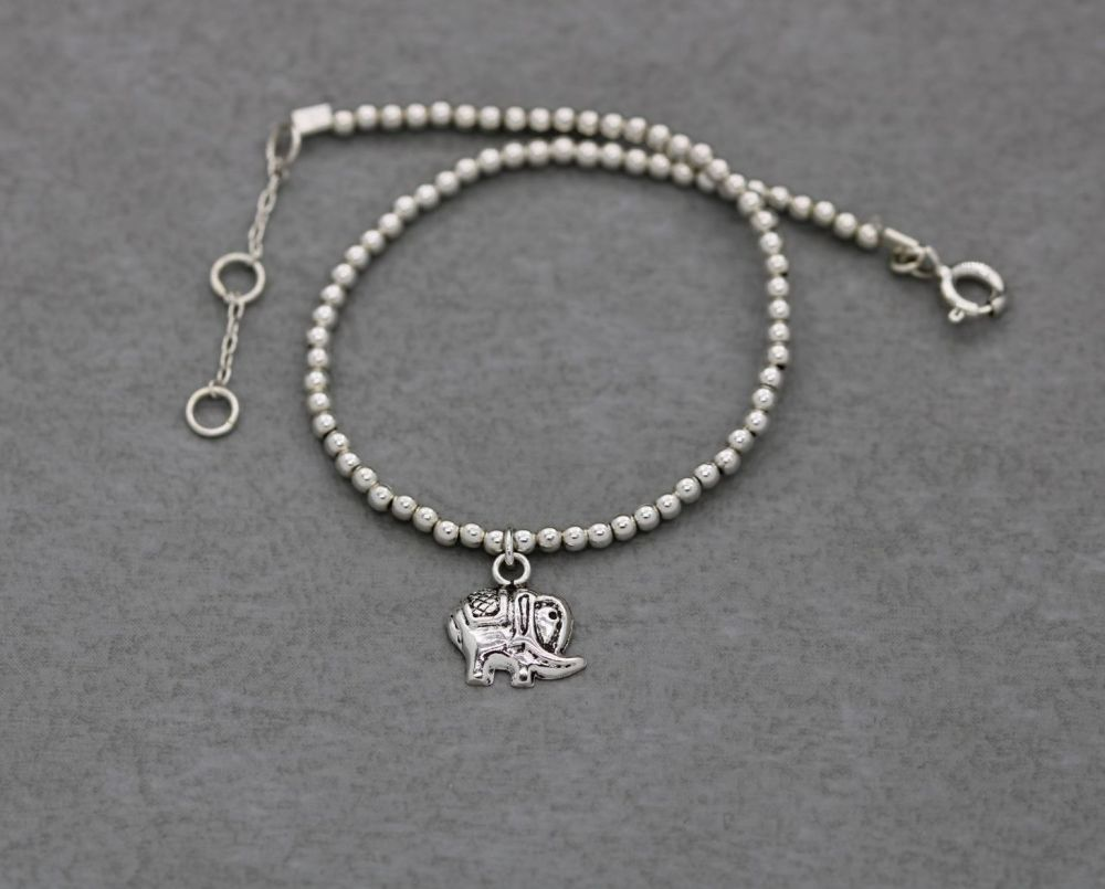 Delicate sterling silver bead ball bracelet with an elephant charm