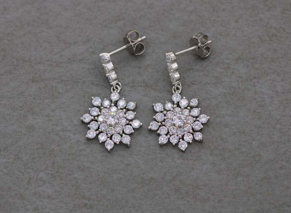 Sterling silver & clear stone cluster drop earrings