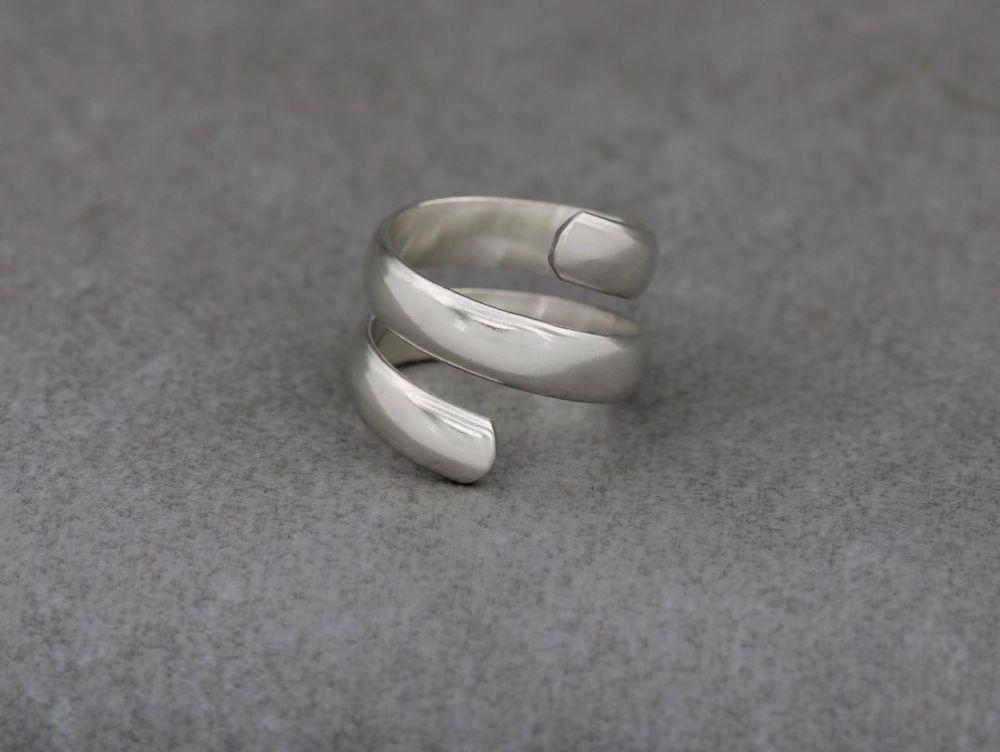 Long handmade sterling silver open twist / wrap ring