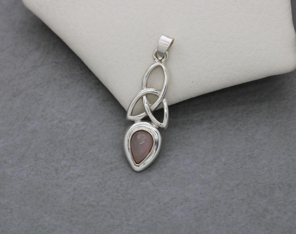 Celtic sterling silver & rose quartz pendant