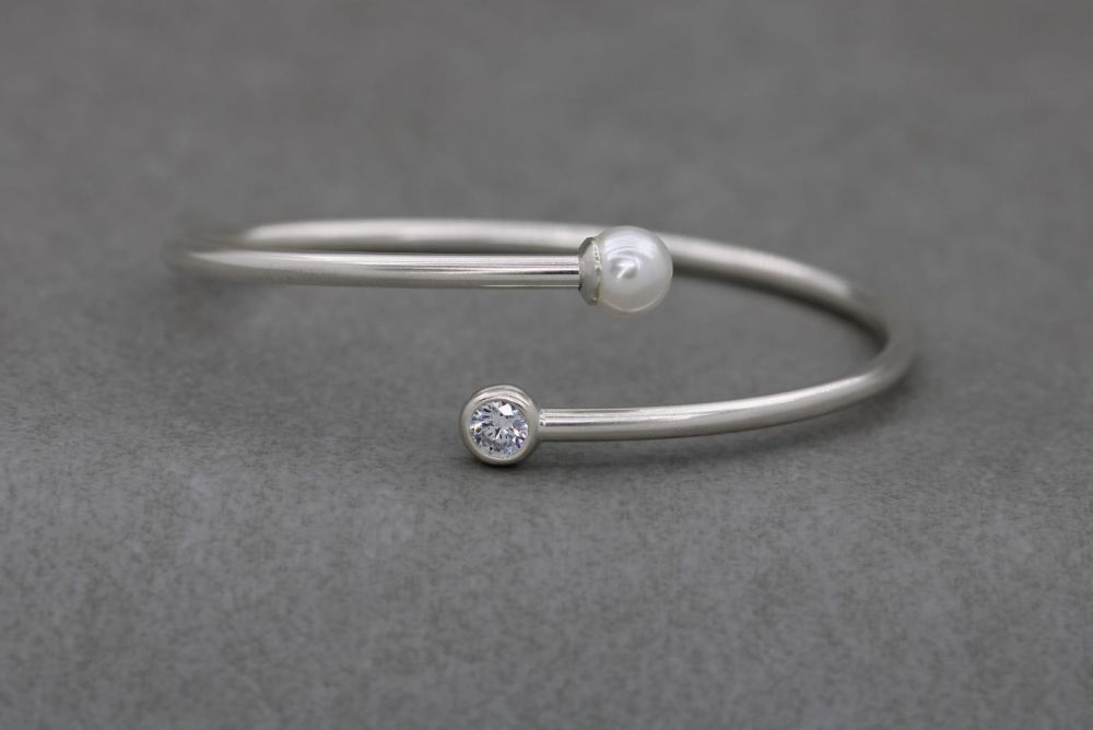 Italian sterling silver, clear stone & freshwater pearl bypass bracelet
