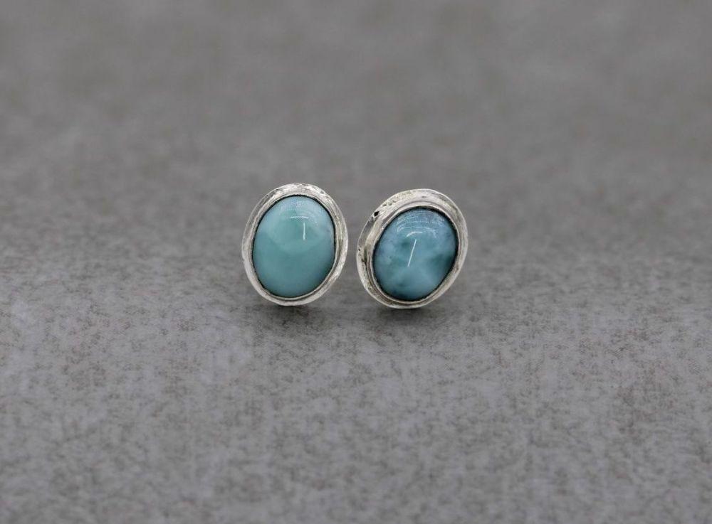 Handmade sterling silver & larimar oval stud earrings