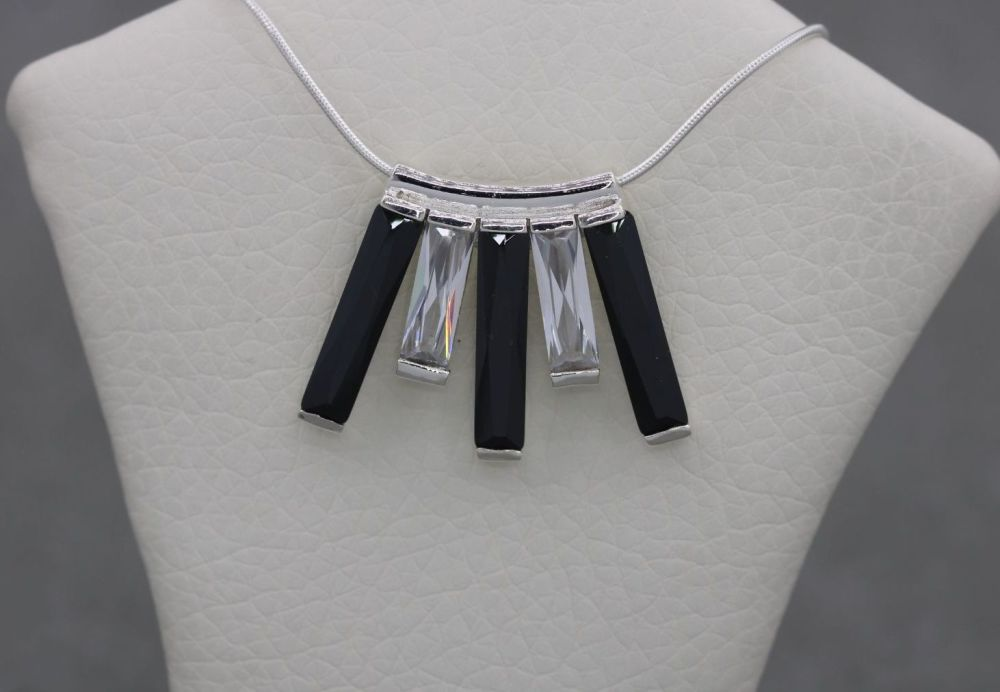 Sterling silver fringe necklace with faceted black & clear stones