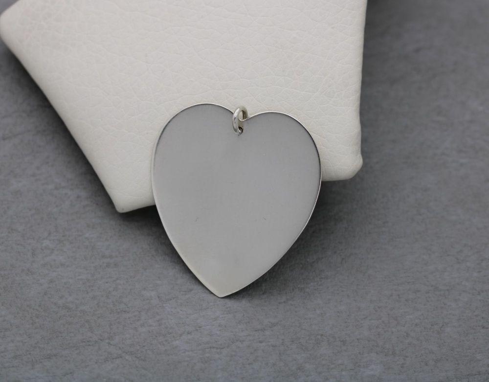 Large sterling silver plain heart pendant