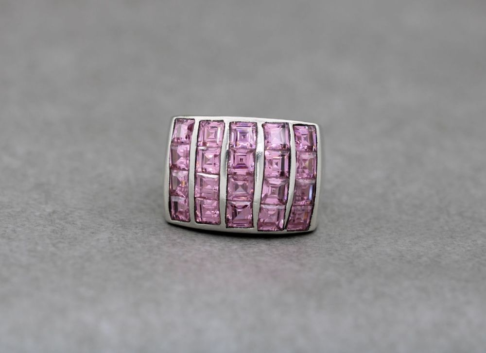 Heavy, chunky sterling silver & square pink stone ring