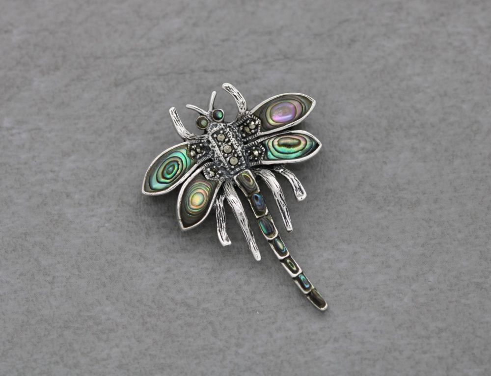 Sterling silver, marcasite & abalone dragonfly brooch