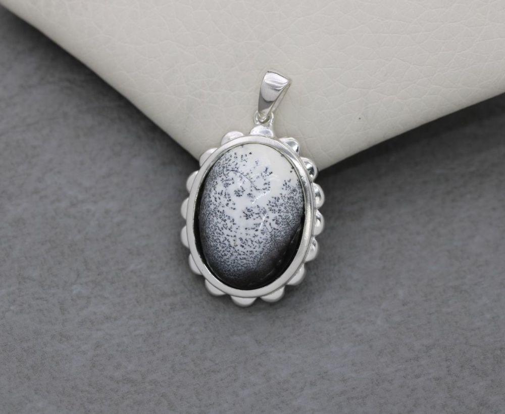 Sterling silver & dendritic opal pendant
