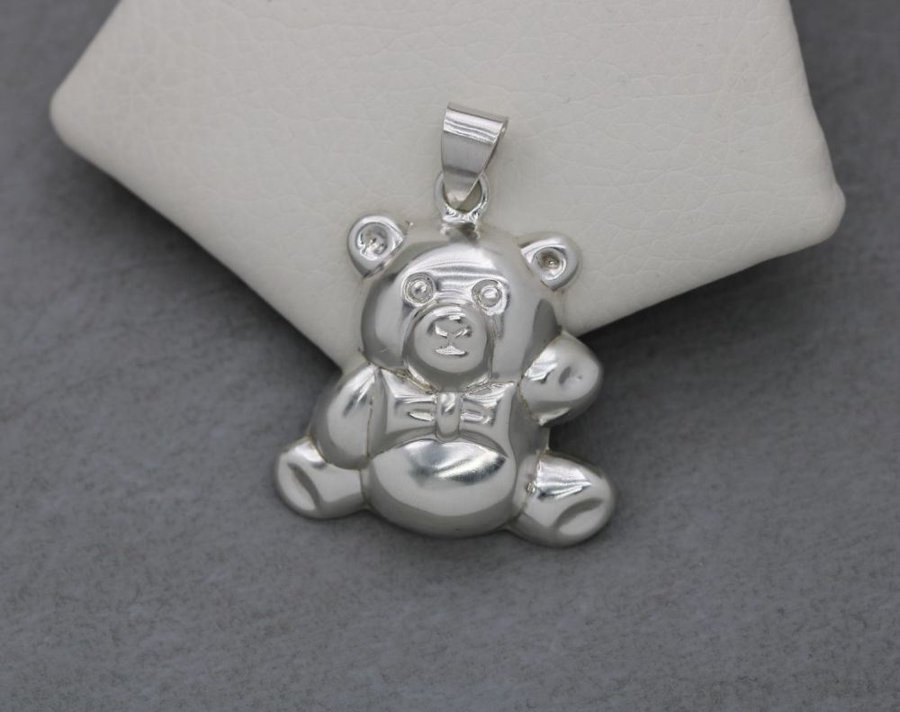 Large sterling silver teddy bear pendant