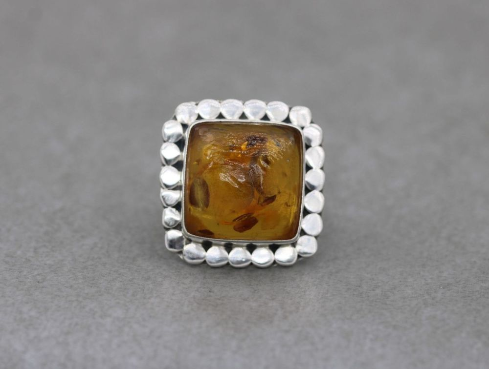 Bold square sterling silver & amber ring