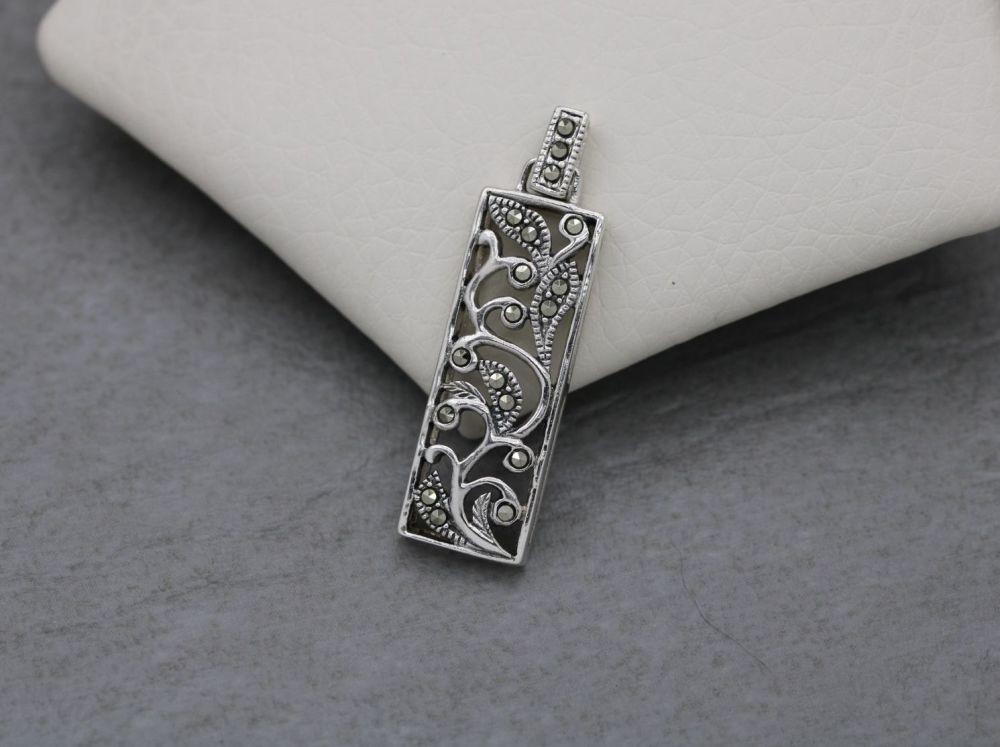Rectangular sterling silver & marcasite pendant
