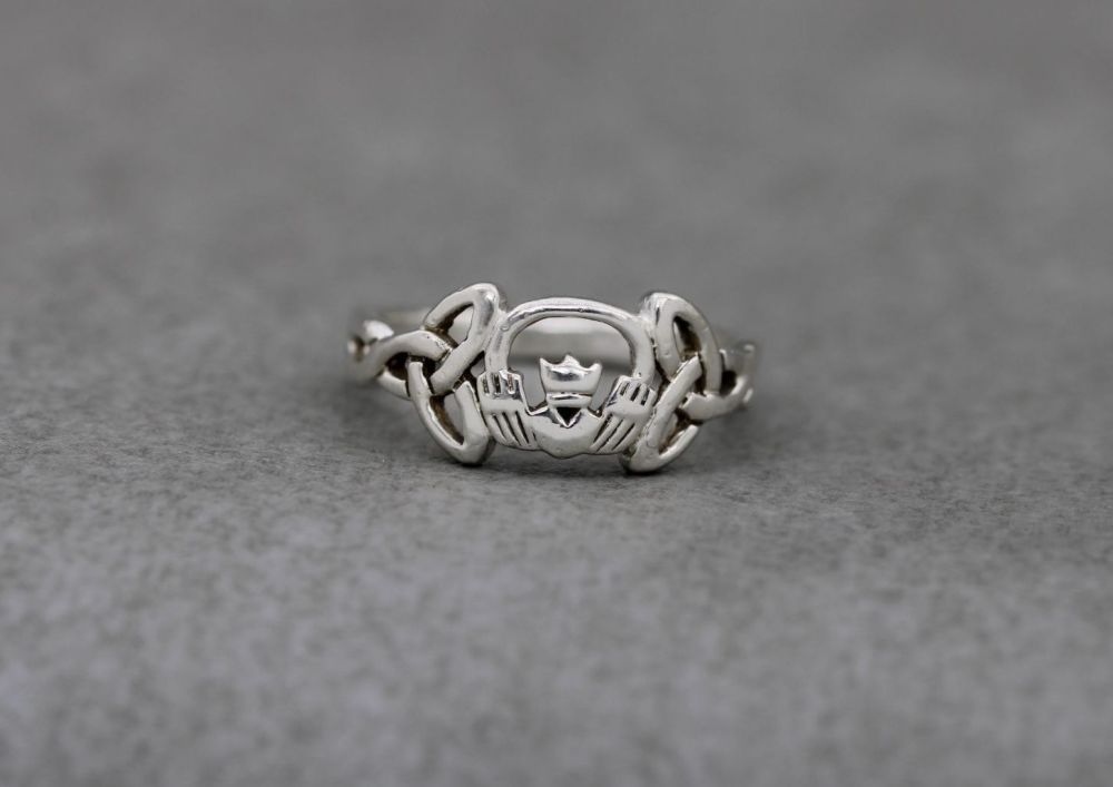 Sterling silver claddagh ring with celtic shoulders