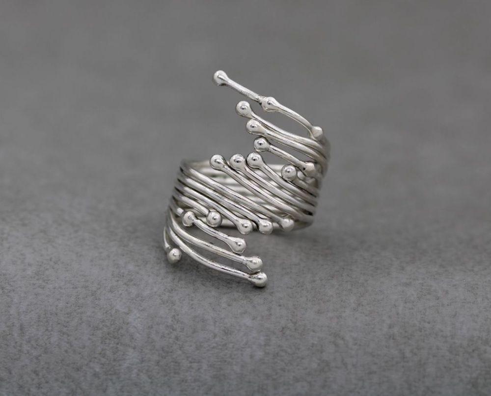 Long handmade sterling silver ring