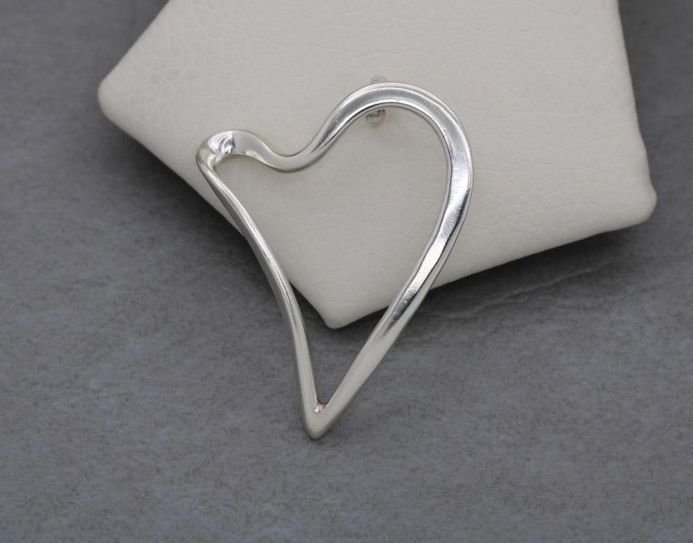 Large sterling silver open heart pendant