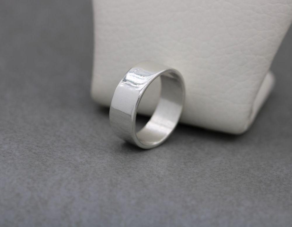 Sterling silver rectangular profile wedding band ring