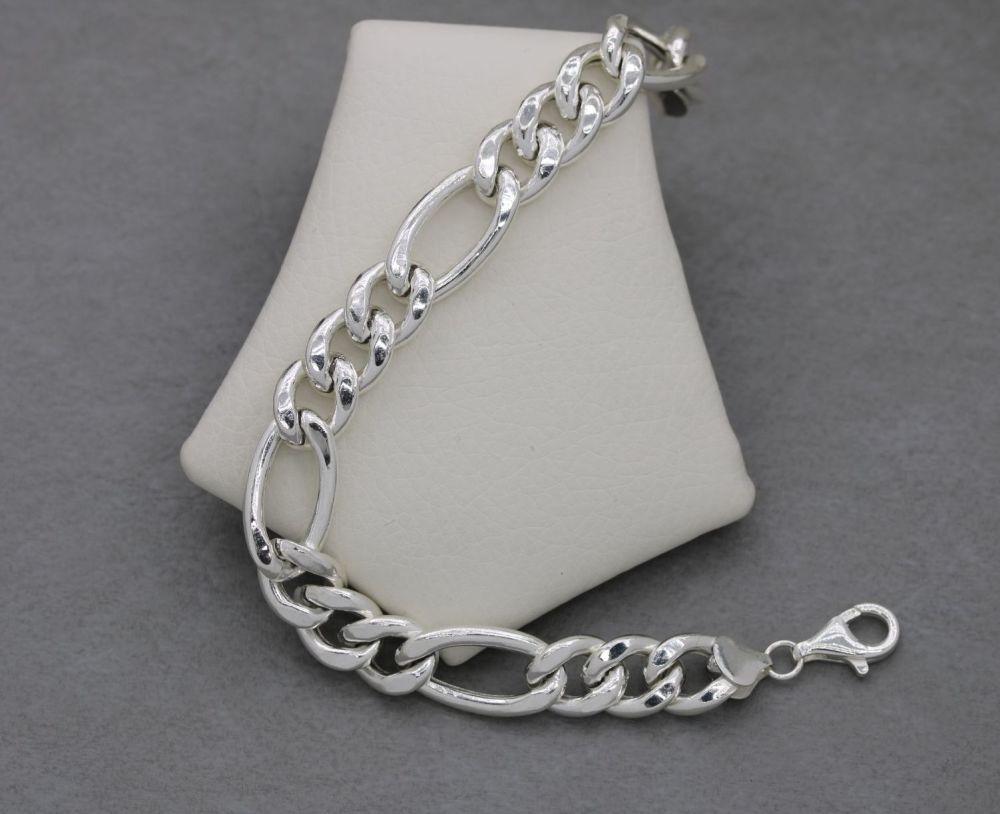 Chunky Italian sterling silver figaro chain bracelet
