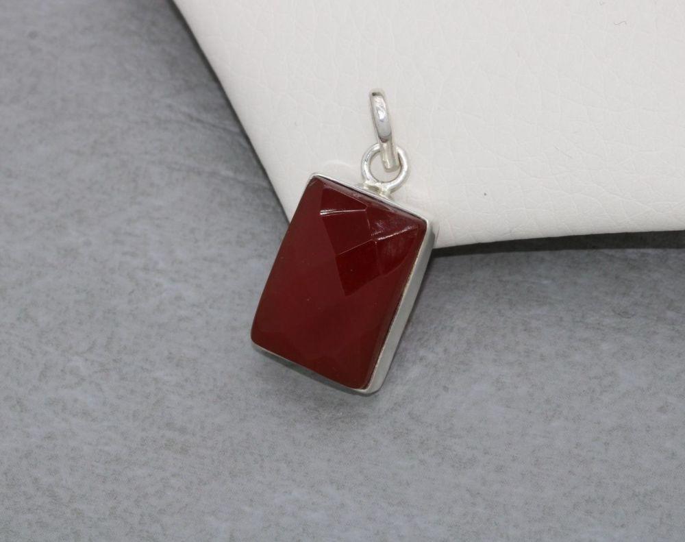 Handmade sterling silver & faceted carnelian pendant
