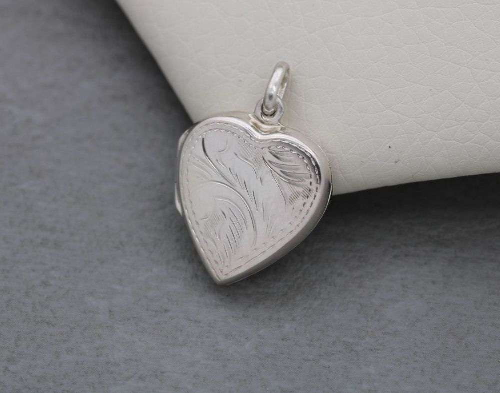 Engraved sterling silver double-sided heart locket