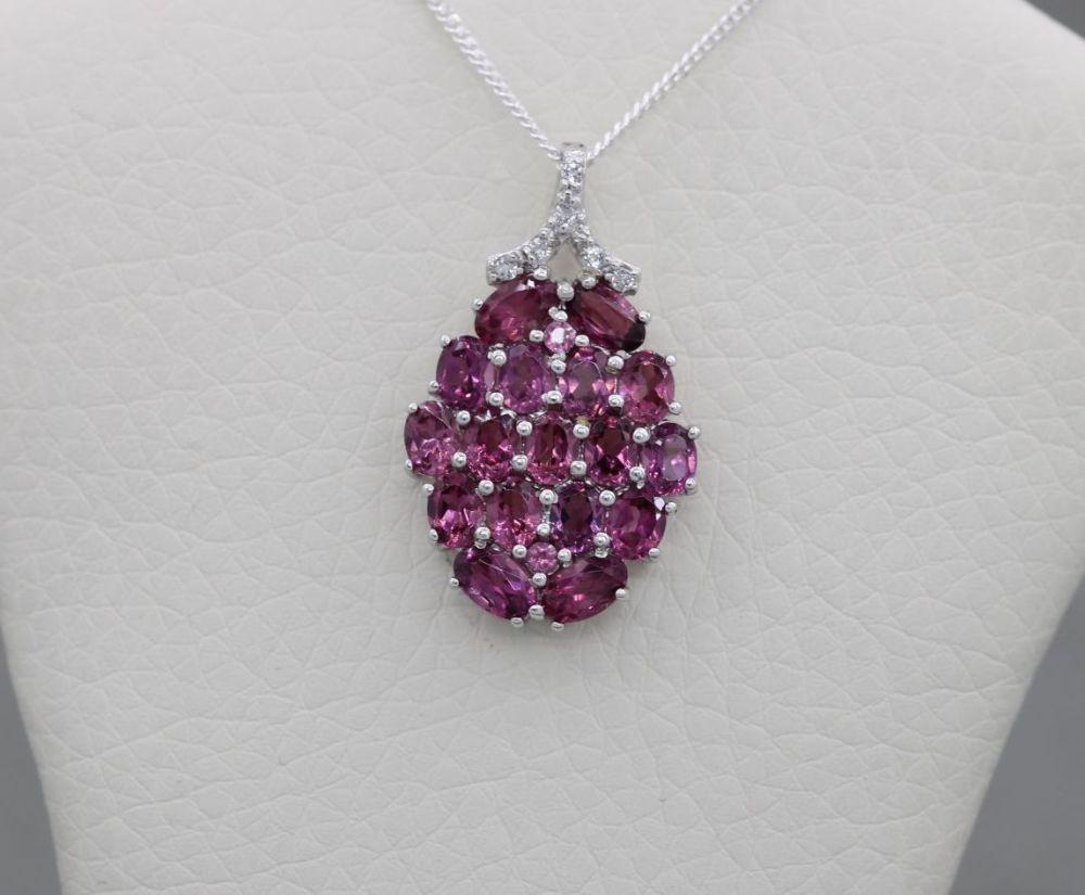 Sterling silver & garnet raspberry necklace