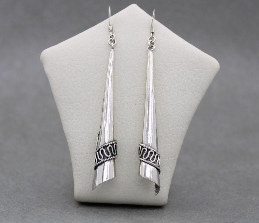 Long sterling silver Bali cone dropper earrings
