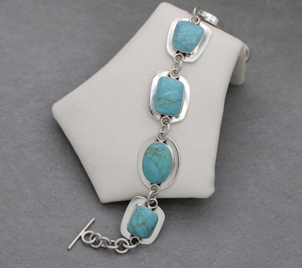 Sterling silver & light blue howlite toggle bracelet