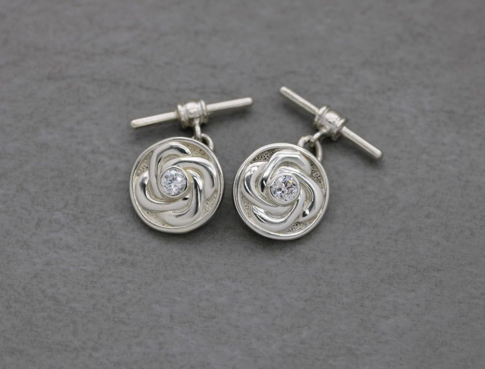 Circular Celtic sterling silver cuff-links with clear stones