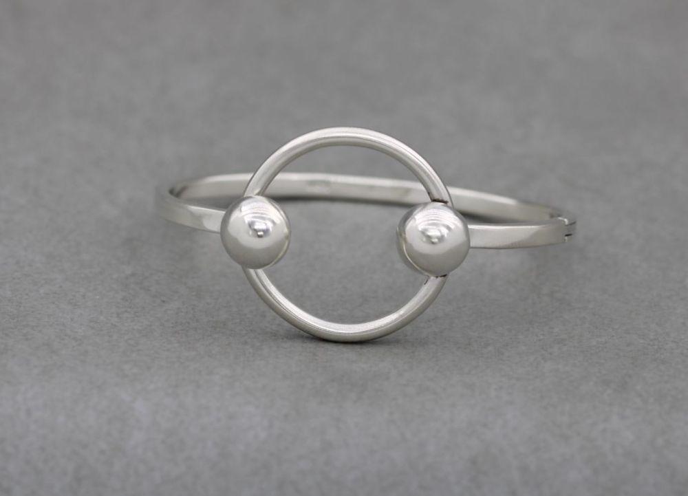 Modernist sterling silver bangle