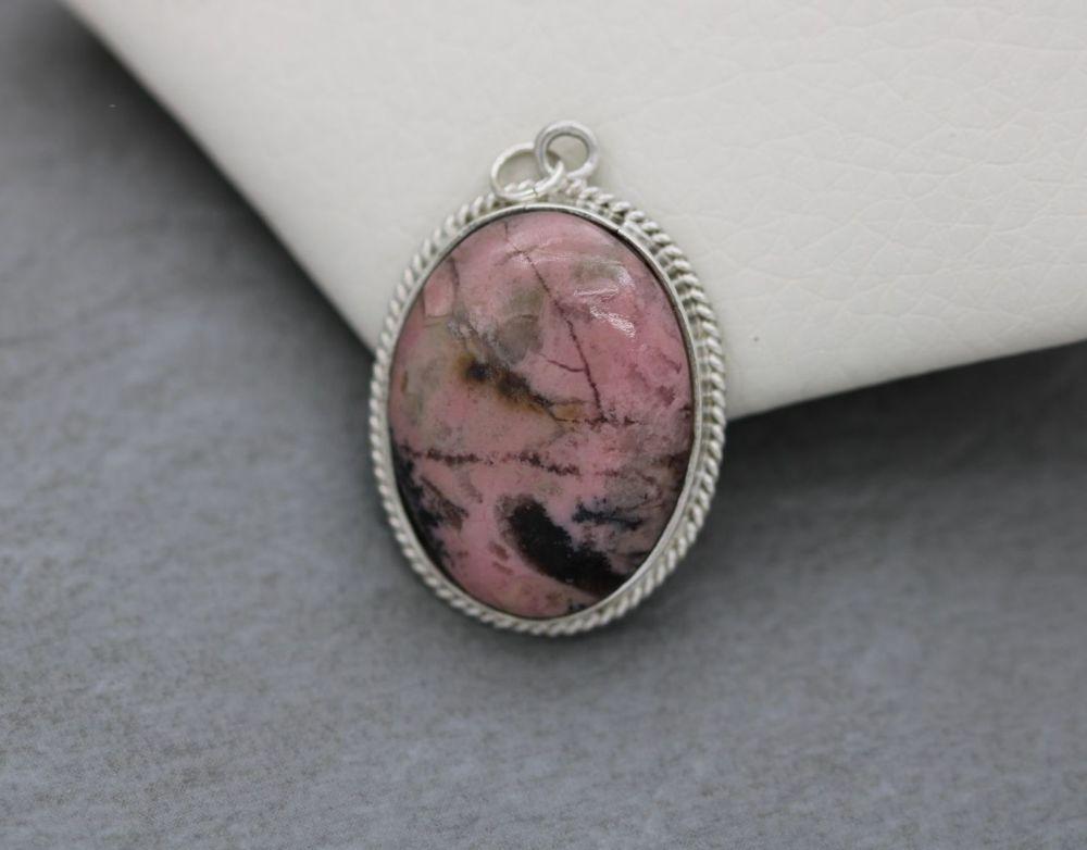 Vintage sterling silver & rhodonite pendant