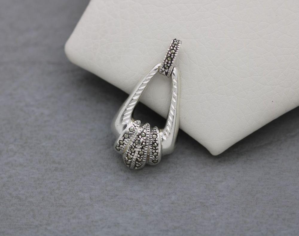 Fancy sterling silver & marcasite pendant