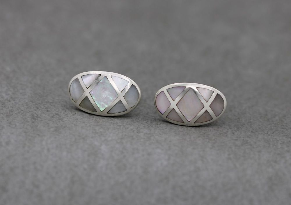 Sterling silver earrings with mother of pearl inlay