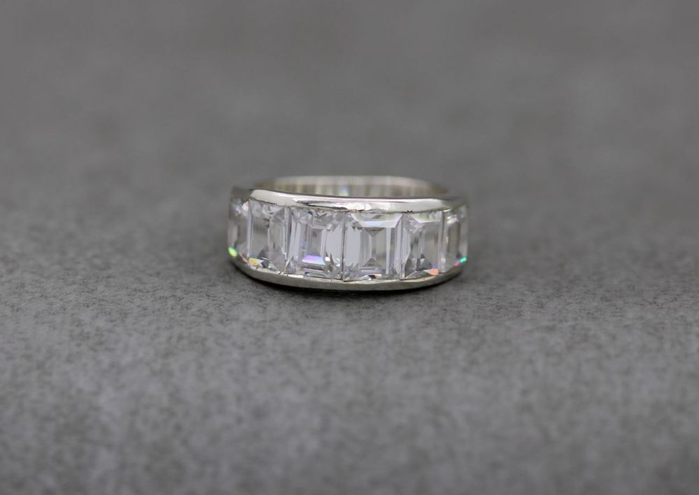 Sterling silver ring with clear faceted rectangular stones