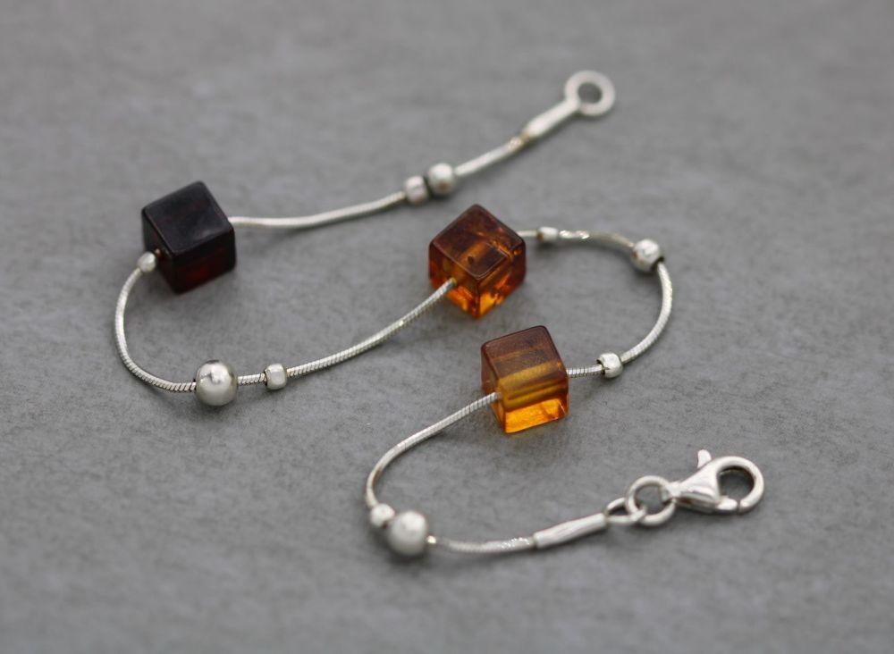 Sterling silver & amber cube bracelet