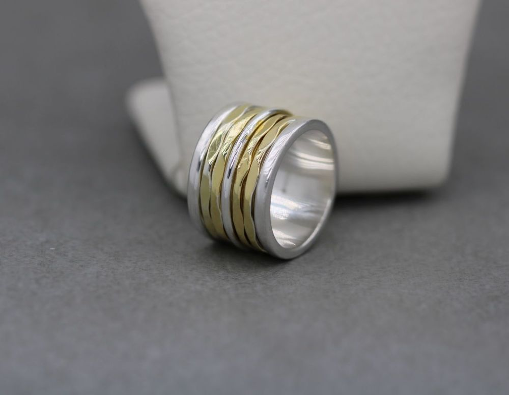 Long sterling silver spinner ring with 5 moving bands (N)