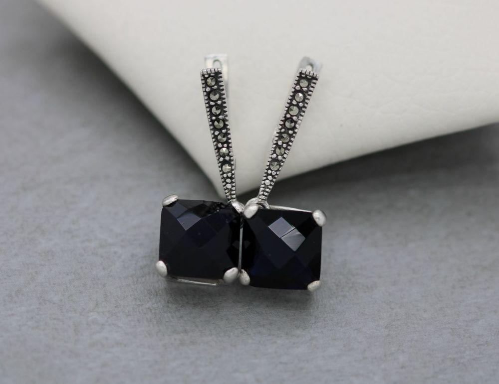Sterling silver, marcasite & colour change black/blue earrings