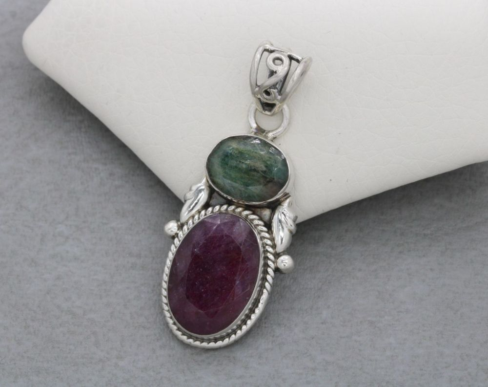 Sterling silver, emerald & ruby pendant