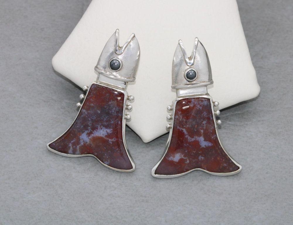 Large handmade sterling silver & agate fish earrings