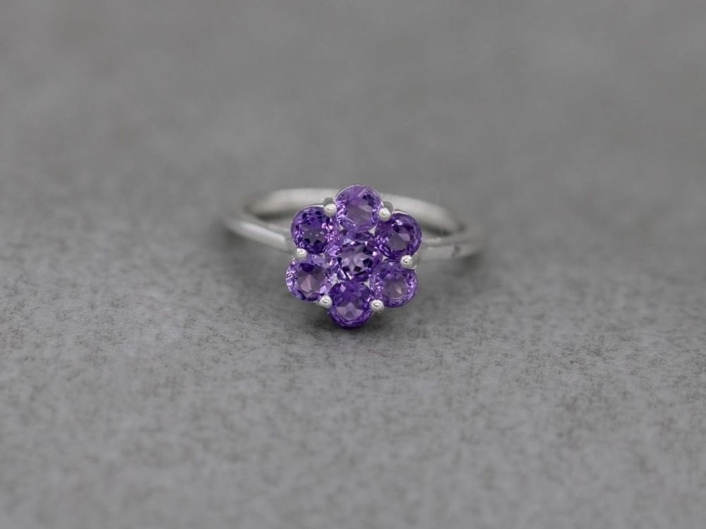 Sterling silver & amethyst cluster ring (M 1/2)