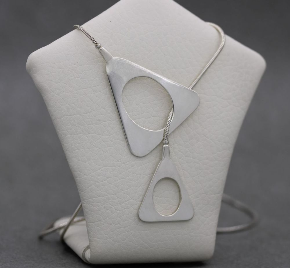 Sterling silver lariat necklace with triangular detail