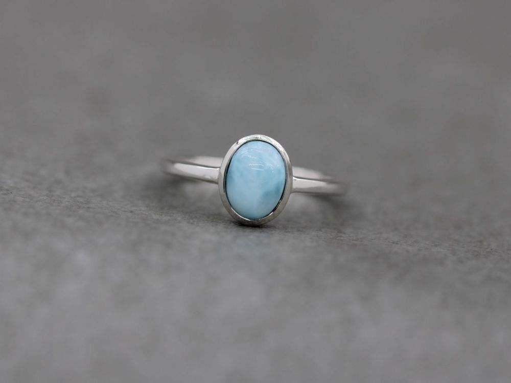 Sterling silver & larimar solitaire ring