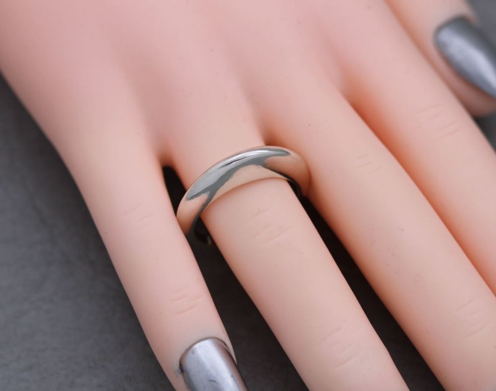 Solid sterling silver proud domed narrow ring