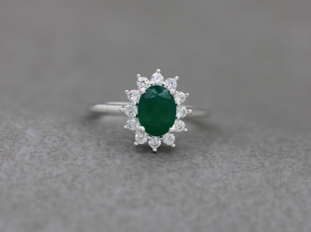 Sterling silver cluster ring with green onyx & clear zircon (P)
