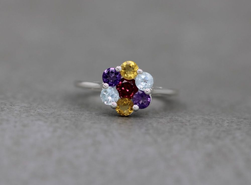 Sterling silver & multi gemstone cluster ring
